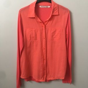 Michael Stars Voile Button Down Top In Coral